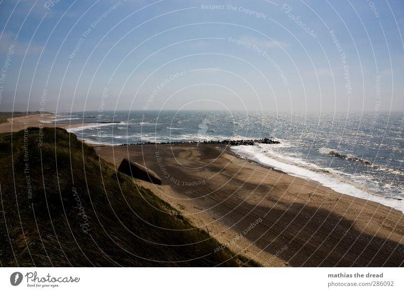 AUSSICHT Umwelt Natur Landschaft Sand Luft Wasser Himmel Wolken Horizont Sommer Schönes Wetter Gras Wellen Küste Strand Nordsee Ruine schön Düne Klippe Bunker
