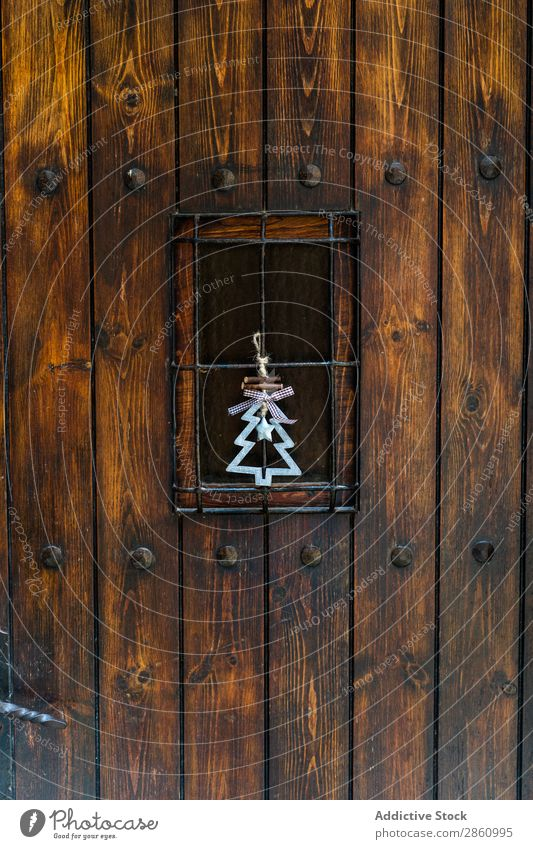 Holztür mit Weihnachtsdekoration Barcelona Katalonien Mura Spanien Barke schön Kälte Weihnachten & Advent Weihnachtsbaum Landschaft Tag Dekoration & Verzierung