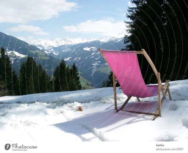 schneeliege rosa Baum Tanne Schnee Berge u. Gebirge Alpen Hütte Stuhl