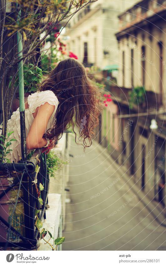 Mensch Jugendliche schön Junge Frau feminin Haare & Frisuren Kopf träumen braun Wohnung Arme warten elegant Häusliches Leben Abenteuer Kleid