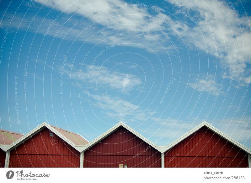 Schwedisch Rot-Weiß Himmel blau Ferien & Urlaub & Reisen weiß Sommer rot ruhig Haus Wand oben Holz Mauer Gebäude Tourismus frisch Schönes Wetter