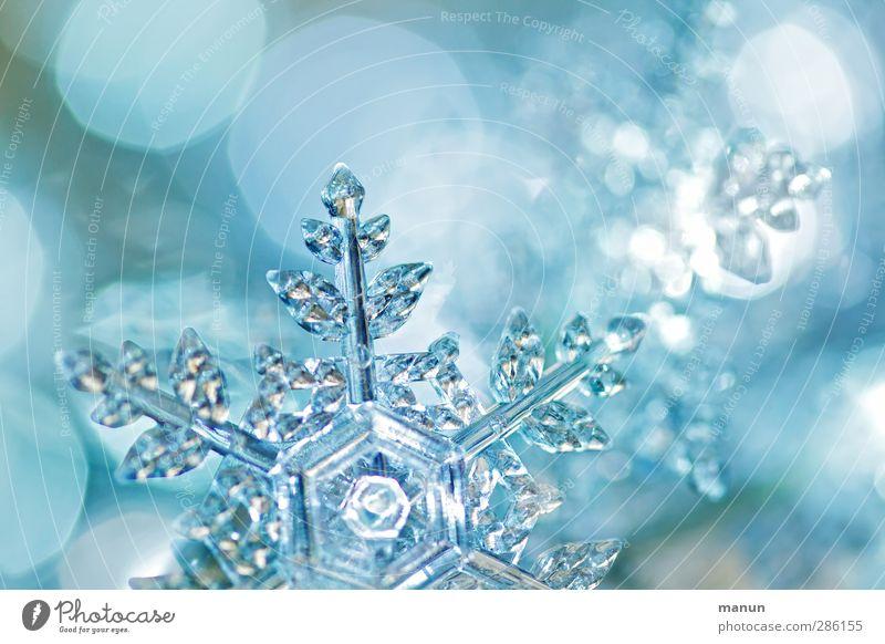 Kristallflocke blau Weihnachten & Advent Feste & Feiern glänzend leuchten Zeichen Kristallstrukturen Vorfreude Weihnachtsdekoration Schneeflocke