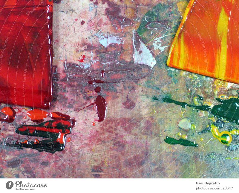 Mischen Impossible Handwerk Werkzeug grün orange rot Farbe Druck Spachtel Farbfoto mehrfarbig Innenaufnahme Menschenleer