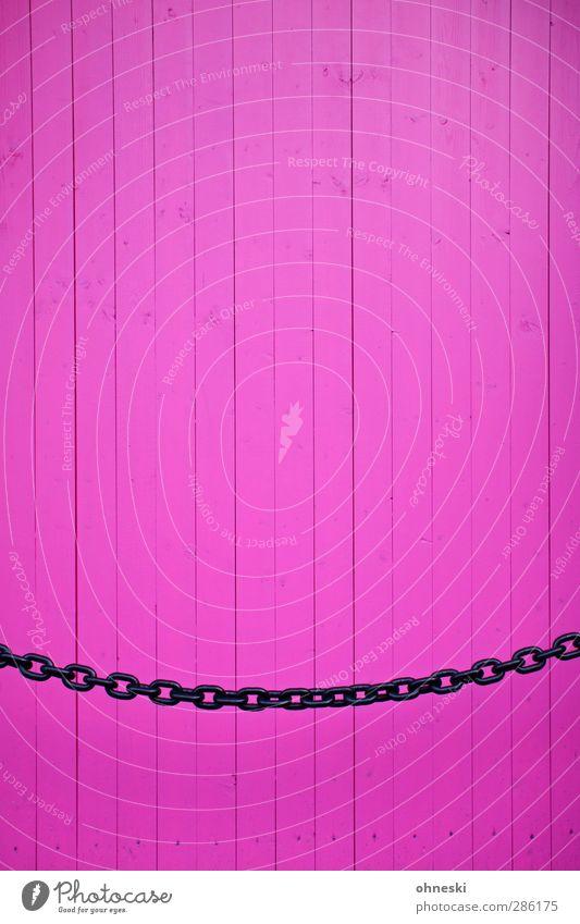 Think Pink Mauer Wand Fassade Kette Holzbrett Bretterzaun Linie rosa Design Barriere Farbfoto mehrfarbig Außenaufnahme abstrakt Muster Strukturen & Formen
