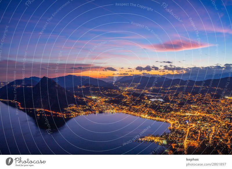 Sonnenuntergang über Lugano Himmel Ferien & Urlaub & Reisen Sommer blau Stadt schön Erholung Wolken Ferne Berge u. Gebirge Tourismus Freiheit See orange