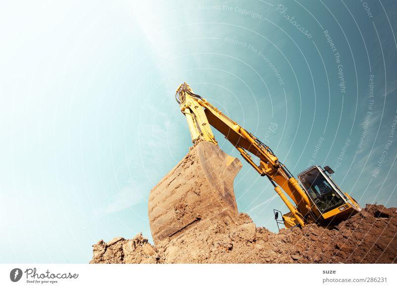 Angraben, Rumbaggern, Zugreifen Himmel blau gelb Umwelt Metall braun Arbeit & Erwerbstätigkeit Erde Schönes Wetter Urelemente Baustelle Industrie