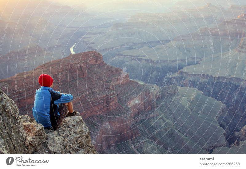 madrugada Ferne Freiheit ruhig Einsamkeit einzigartig Horizont Identität Ferien & Urlaub & Reisen träumen einfach Grand Canyon Schlucht Felsvorsprung