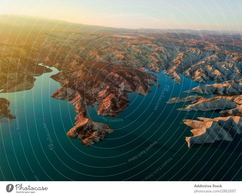Luftküste und Hügel Küste Düne Fluggerät Sand Meer Ferien & Urlaub & Reisen Natur Landschaft Drohnenansicht Strand Aussicht Wüste schön natürlich Tourismus