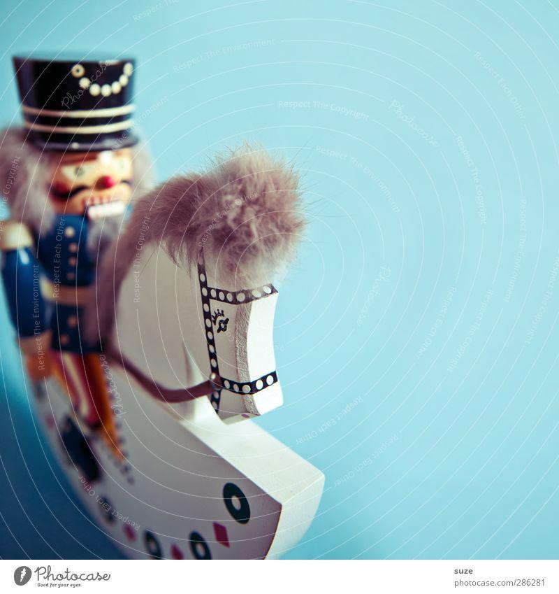 Hoppe Reiter Lifestyle Feste & Feiern Kindheit Kunst Dekoration & Verzierung Souvenir Sammlerstück Holz alt authentisch schön einzigartig Kitsch niedlich blau