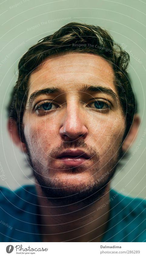 C'est moi Mensch maskulin Junger Mann Jugendliche Erwachsene Bruder Gesicht Bart 1 18-30 Jahre brünett Locken Dreitagebart Blick trist Gefühle Laster