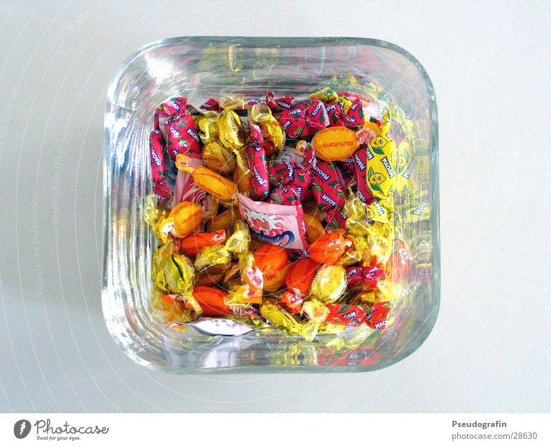 Bonbonglas Süßwaren Ernährung Papier Glas süß Farbfoto mehrfarbig Innenaufnahme Detailaufnahme Vogelperspektive
