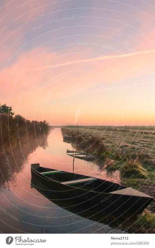 Morgensruhe - kein Qual! :D Natur Landschaft Wasser Himmel Schönes Wetter Feld Flussufer Bach Romantik ruhig Wasserfahrzeug Kanal Erholung Farbfoto