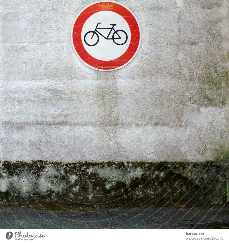Qual! | Qualvermeidungsschild alt Stadt weiß rot Straße Wand Wege & Pfade grau Mauer hell Fassade Schilder & Markierungen gefährlich Hinweisschild Sicherheit