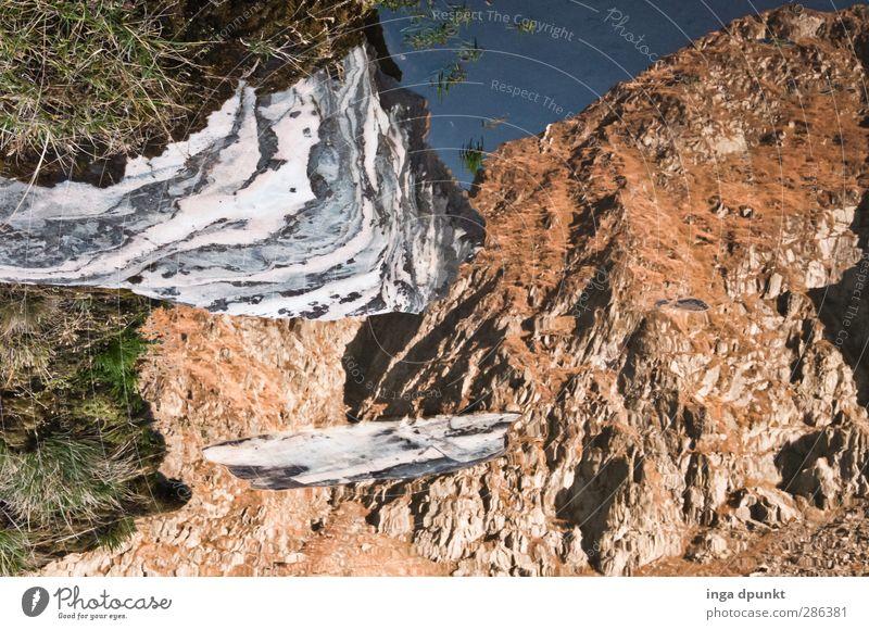 Verkehrte Welt Umwelt Natur Landschaft Urelemente Wasser Schönes Wetter Felsen Berge u. Gebirge Gipfel Seeufer Gebirgssee Perspektive Klarheit deutlich rein