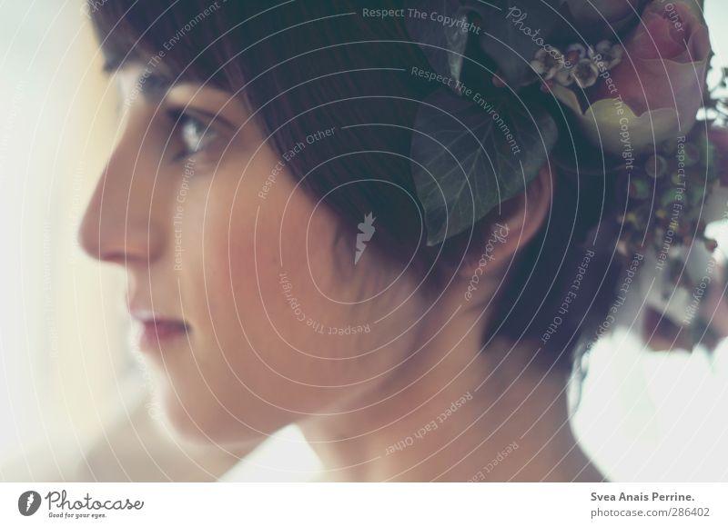 zeitlich gesehen. Mensch Jugendliche schön Blume Erwachsene Gesicht Junge Frau Haare & Frisuren 18-30 Jahre Zufriedenheit Nase Sträucher Rose zart Lebensfreude brünett