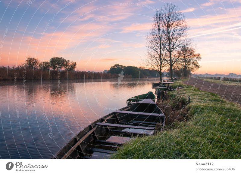 Morgensruhe II Natur Landschaft Wasser Himmel Wolken Schönes Wetter Baum Küste Flussufer Bach blau violett Wasserfahrzeug ruhig entspannen Spaziergang
