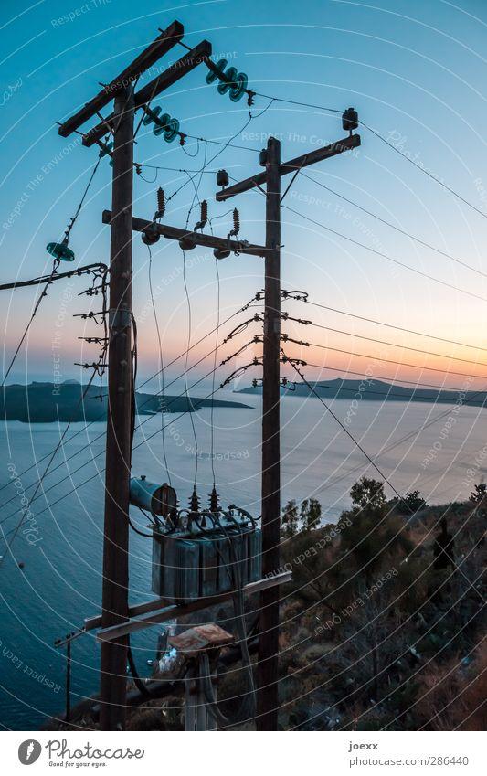 Kabel Fernsehen Technik & Technologie Telekommunikation Energiewirtschaft Energiekrise Landschaft Himmel Horizont Sonnenaufgang Sonnenuntergang Sommer Insel