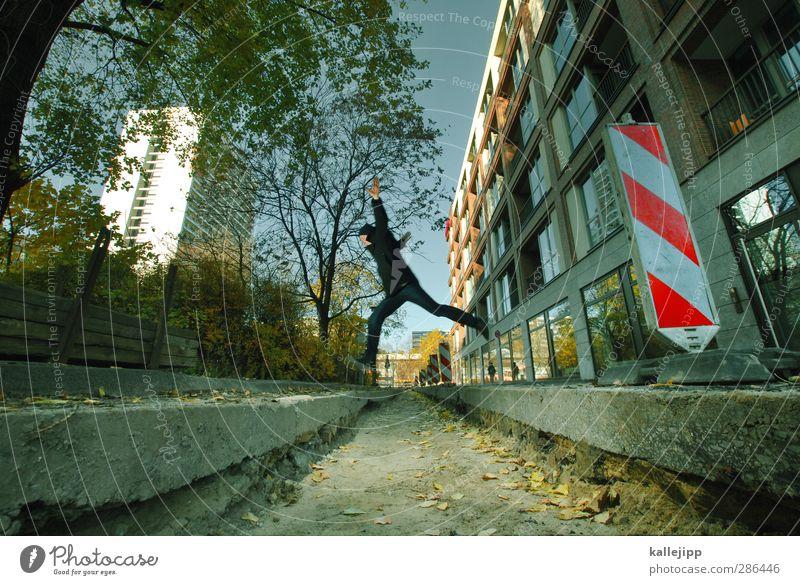 it´s just a jump to the left Mensch maskulin Mann Erwachsene 1 30-45 Jahre springen Graben Barriere Baustelle Schilder & Markierungen Hochhaus Berlin erobern
