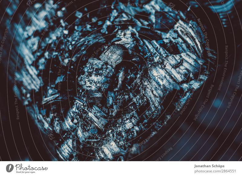 Asche, Kohle Nahaufnahme Garten Erneuerbare Energie Frühling Holz blau schwarz Brennstoff brennen kohleausstieg Feuerstelle Rest verkohlt Brandasche