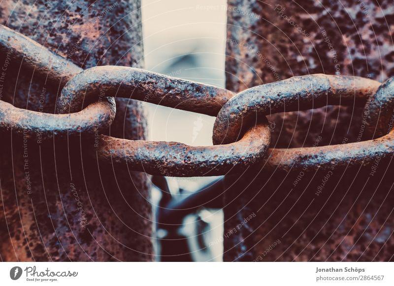 Eisenkette zur Absperrung Metall falsch Gewalt Politik & Staat Trennung Verbote Barriere Europa Flüchtlinge Justizvollzugsanstalt Grenze massiv schließen Zaun