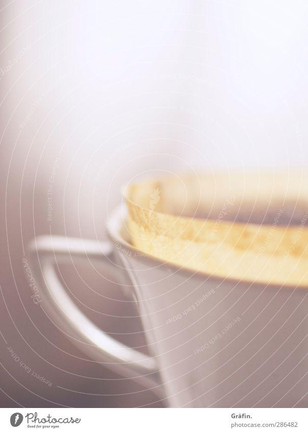 Kaffeepause weiß ruhig Erholung Kaffee Wellness heiß Müdigkeit Frühstück Tasse Duft Durst Wasserdampf Kaffeetrinken Heißgetränk