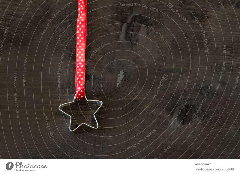 stern Weihnachten & Advent rot Holz Feste & Feiern braun Dekoration & Verzierung Stern (Symbol) Kreativität Punkt Holzbrett gepunktet Geschenkband