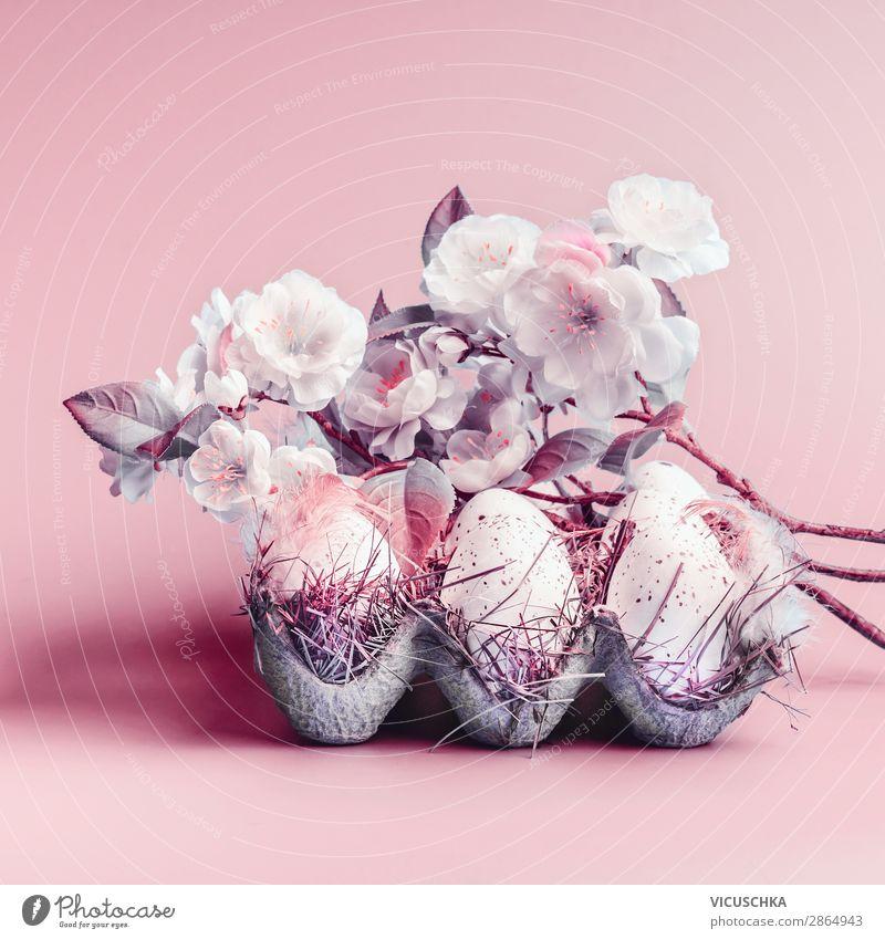 Ostereier und Frühlingsblüte Stil Design Dekoration & Verzierung Ostern Natur Pflanze Blatt Blüte rosa Tradition Hintergrundbild Symbole & Metaphern Farbfoto