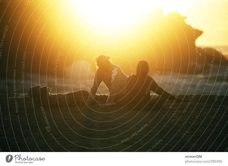 Morning Mellow. Jugendliche Ferien & Urlaub & Reisen Meer Strand Erholung Umwelt Felsen sitzen 3 ästhetisch Ewigkeit Jugendkultur Sonnenbad Sonnenenergie