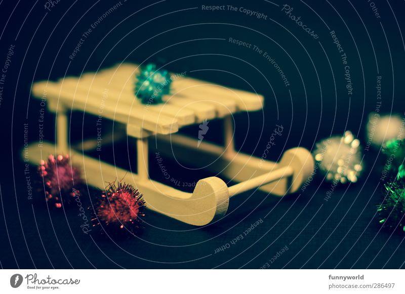 Pompomschlitten Weihnachten & Advent Freude lustig Stimmung glänzend Dekoration & Verzierung retro Kitsch Spielzeug Nostalgie Weihnachtsdekoration Krimskrams