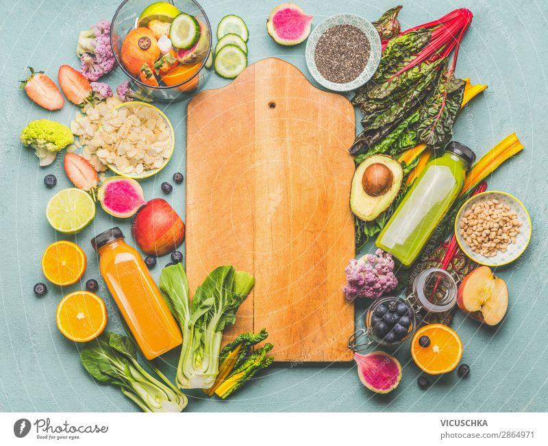 Gesunde Smoothie Zutaten Lebensmittel Gemüse Frucht Apfel Orange Ernährung Frühstück Getränk Saft kaufen Stil Design Gesundheit Gesunde Ernährung Milchshake