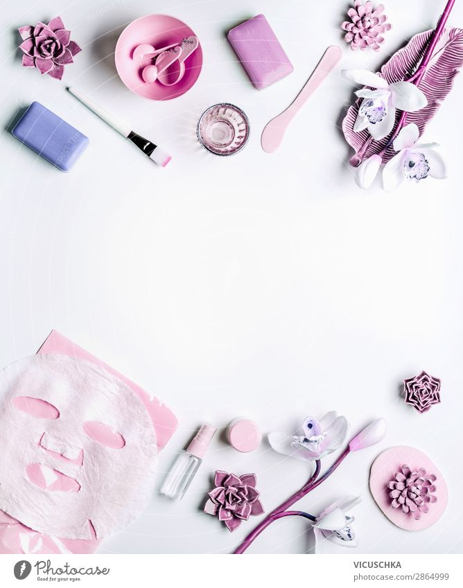 Moderne Hautpflege Kosmetik mit Gesichtsmaske Natur schön Blume Gesundheit Hintergrundbild feminin Stil rosa Häusliches Leben Design kaufen Dinge Wellness
