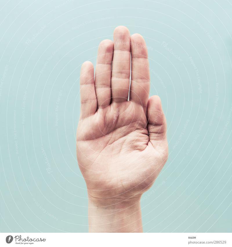 Flache Hand Hand hell Arme Haut Finger Kommunizieren Coolness einfach Zeichen stoppen Europäer trendy Richtung Hinweis gestikulieren Halt
