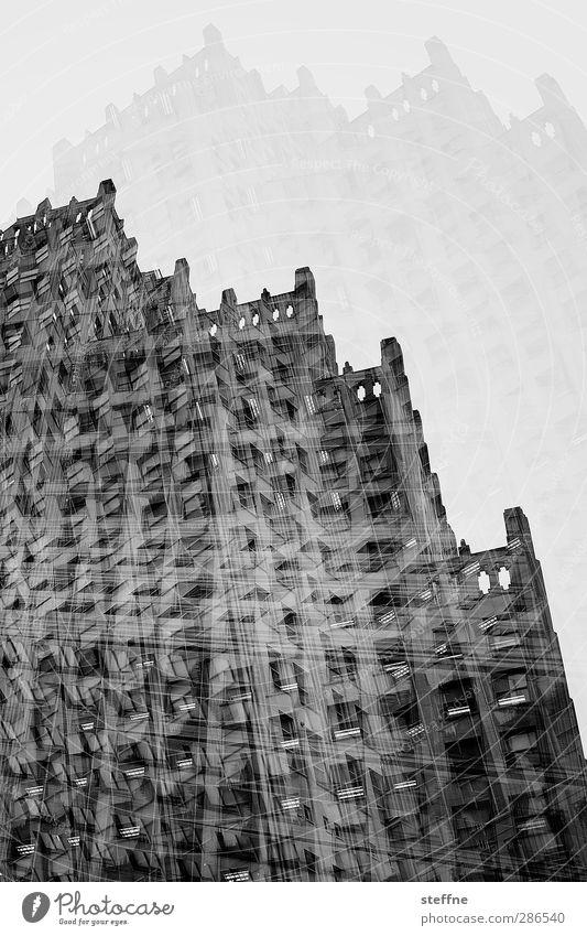 gotham city St. Louis USA Stadt Stadtzentrum Hochhaus Mauer Wand Fassade Fenster viele Doppelbelichtung Schwarzweißfoto Außenaufnahme Experiment