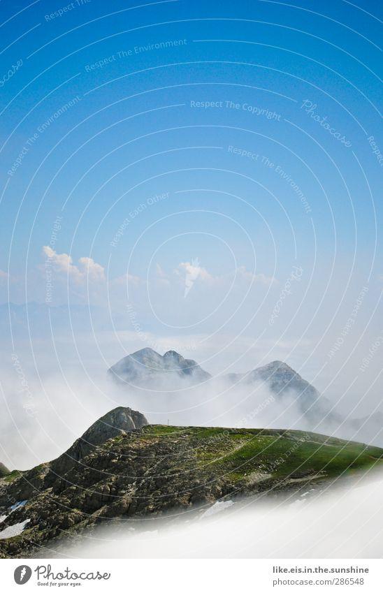 fluffig* Himmel Natur blau Ferien & Urlaub & Reisen grün weiß Sommer Wolken Landschaft Ferne Umwelt Berge u. Gebirge Gras Freiheit Erde Horizont