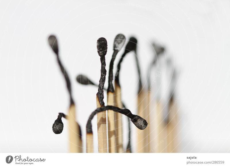ausgepowert Holz stehen Müdigkeit ausgebrannt biegen gekrümmt beugen Erschöpfung Streichholz mehrere Gesellschaft (Soziologie) Zusammensein kopf hängen lassen