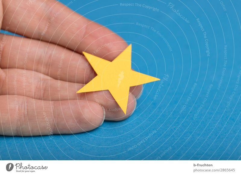 Meine Bewertung Finger Dekoration & Verzierung Zeichen wählen festhalten blau gelb Erfolg Stern (Symbol) Empfehlung bewerten Beschluss u. Urteil 1 Business