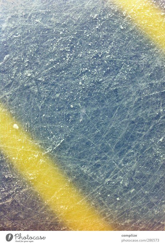 lecker Eis Sportstätten Winter Linie Streifen blau gelb Schlittschuhlaufen Eishockey Eisfläche Schlittschuhe diagonal Hintergrundbild Strukturen & Formen kalt