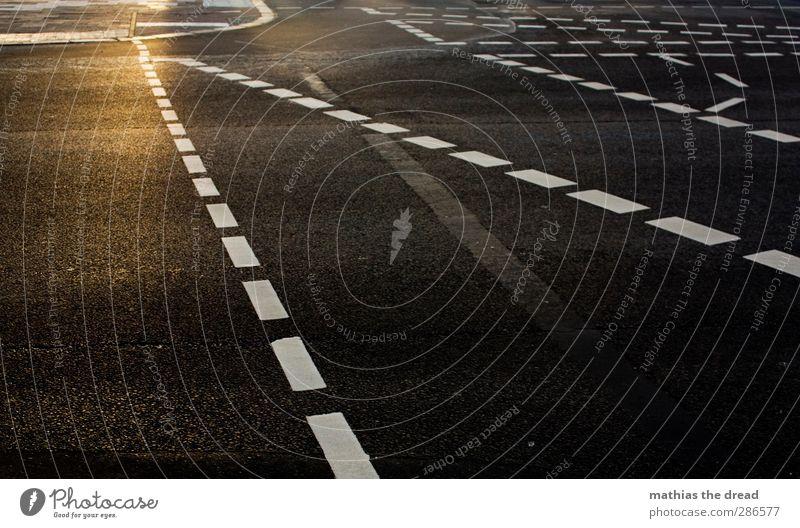 LINIENFÜHRUNG Stadt Menschenleer Verkehr Autofahren Fußgänger Straße Straßenkreuzung Ampel Schilder & Markierungen eckig Linie Asphalt durcheinander Farbfoto