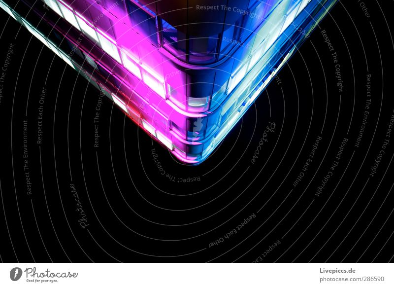 City Nord Show Stadt Menschenleer Hochhaus Mauer Wand Fassade Glas Metall Kunststoff leuchten blau violett rosa schwarz weiß einzigartig Farbfoto mehrfarbig
