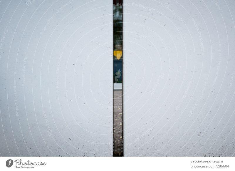 the gap Menschenleer Architektur Mauer Wand Fassade Kasten Metall Kunststoff Lücke Spalte außergewöhnlich dünn eckig einfach nah Neugier grau weiß diszipliniert