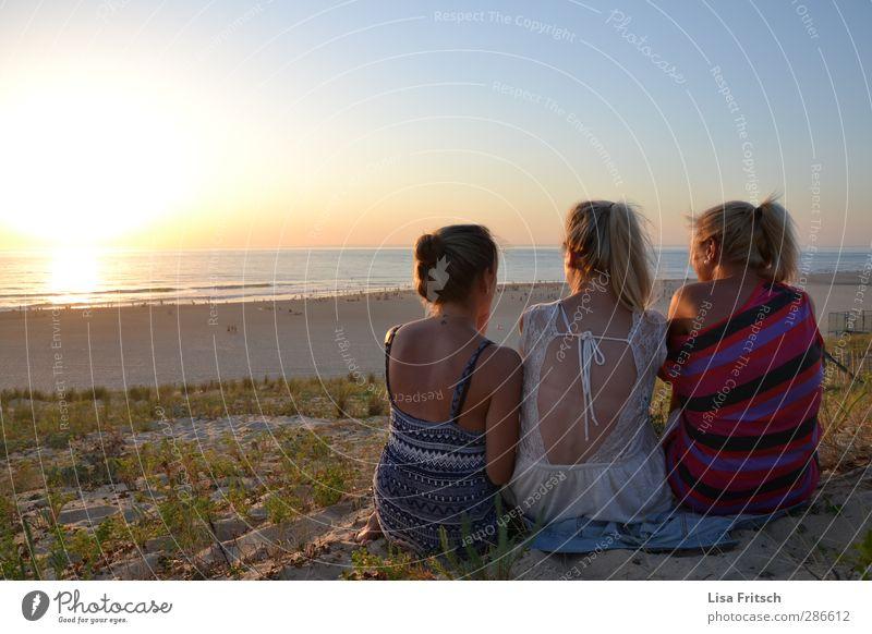 freunde der sonne... Ferien & Urlaub & Reisen Sommer Sommerurlaub Sonne Strand Meer Mensch feminin Junge Frau Jugendliche Freundschaft Leben Rücken 3