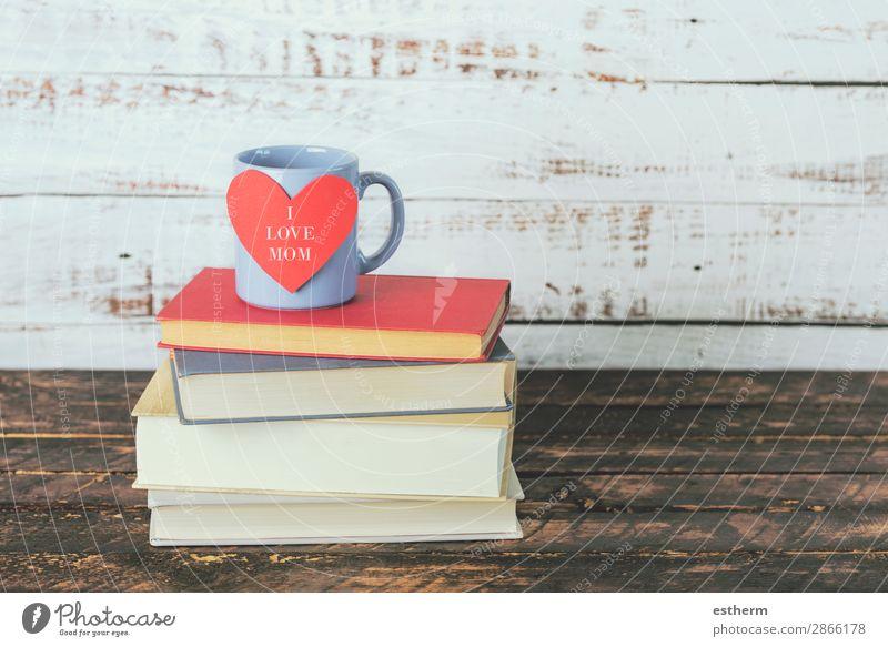 Ich liebe Mama, Bücher neben einer Tasse Kaffee. Milch Tee Freude Freizeit & Hobby lesen Dekoration & Verzierung Tisch Feste & Feiern Muttertag Erwachsene