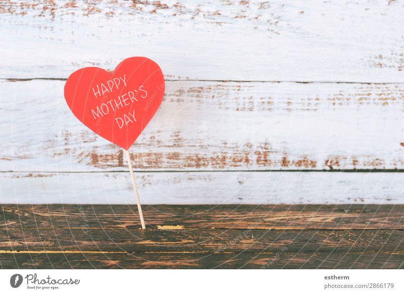 froher Muttertag Freude Freizeit & Hobby Dekoration & Verzierung Tisch Feste & Feiern Erwachsene Familie & Verwandtschaft Holz Herz Liebe Fröhlichkeit rot