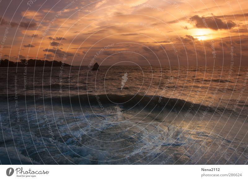 When the sun is going down II Umwelt Natur Landschaft Wasser Wolken Gewitterwolken Horizont Wetter Wind Küste Strand Bucht Meer gelb gold orange Bretagne
