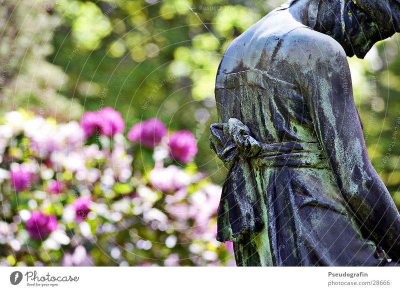 Trauernde Sommer Sträucher Park Schleife Stein historisch Tod Friedhof Statue Farbfoto mehrfarbig Außenaufnahme Menschenleer Tag Sonnenlicht
