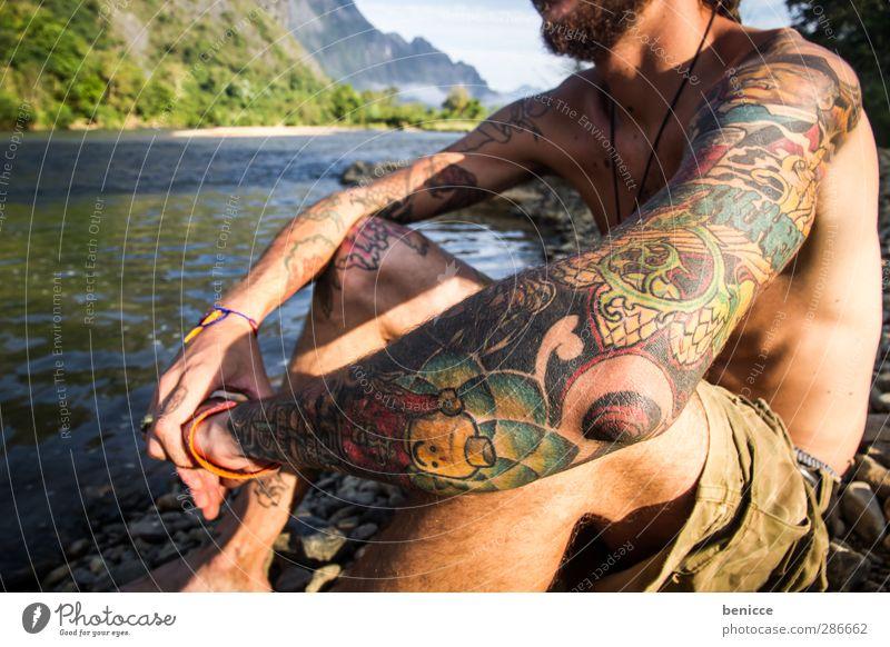 gezeichnet Mensch Natur Mann Jugendliche Ferien & Urlaub & Reisen Wasser Sommer Sonne nackt Junger Mann See Denken Haut sitzen maskulin nachdenklich