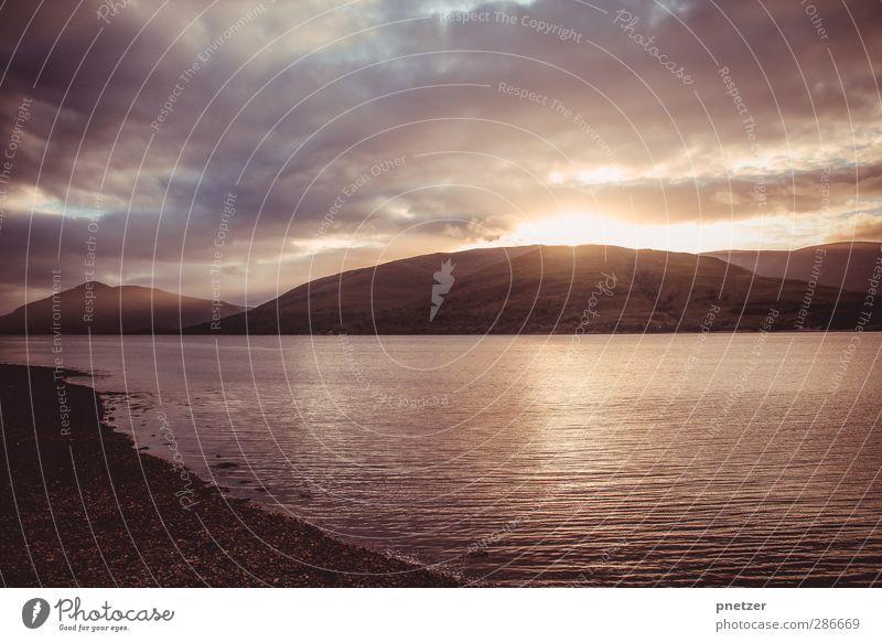 Loch Ness Umwelt Natur Landschaft Urelemente Sand Wasser Himmel Wolken Sonne Sonnenaufgang Sonnenuntergang Sonnenlicht Sommer Klima Schönes Wetter Hügel Felsen