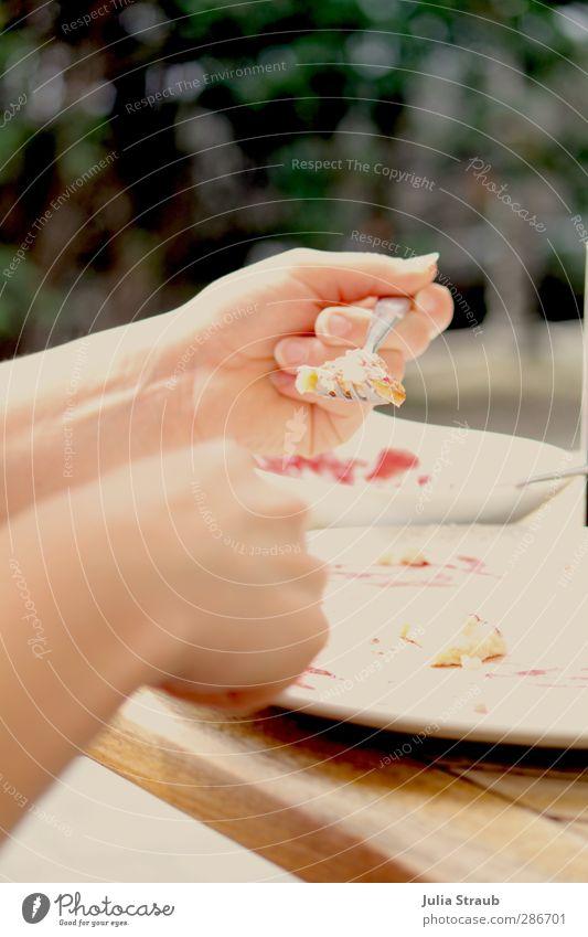 Essen Süßwaren Marmelade Pfannkuchen Mittagessen Teller Gabel feminin Frau Erwachsene Hand Finger 1 Mensch 18-30 Jahre Jugendliche Sommer Holz festhalten