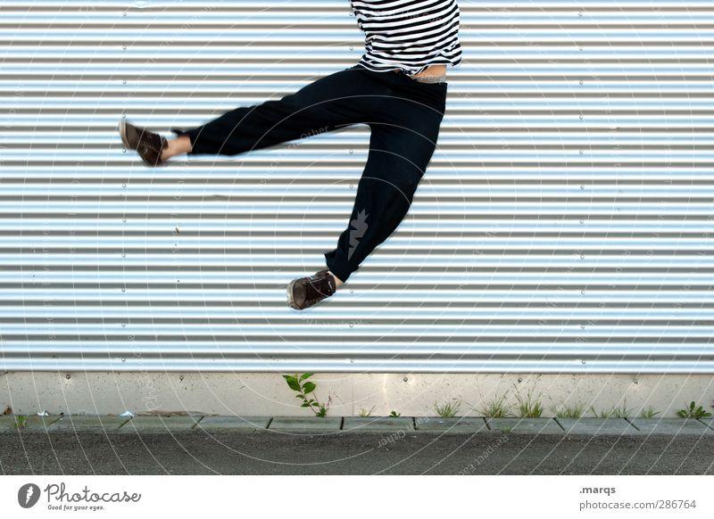 Hü-hüpf Mensch Jugendliche Freude Erwachsene Junger Mann Glück lustig Stil springen 18-30 Jahre Linie außergewöhnlich fliegen Fassade maskulin Erfolg