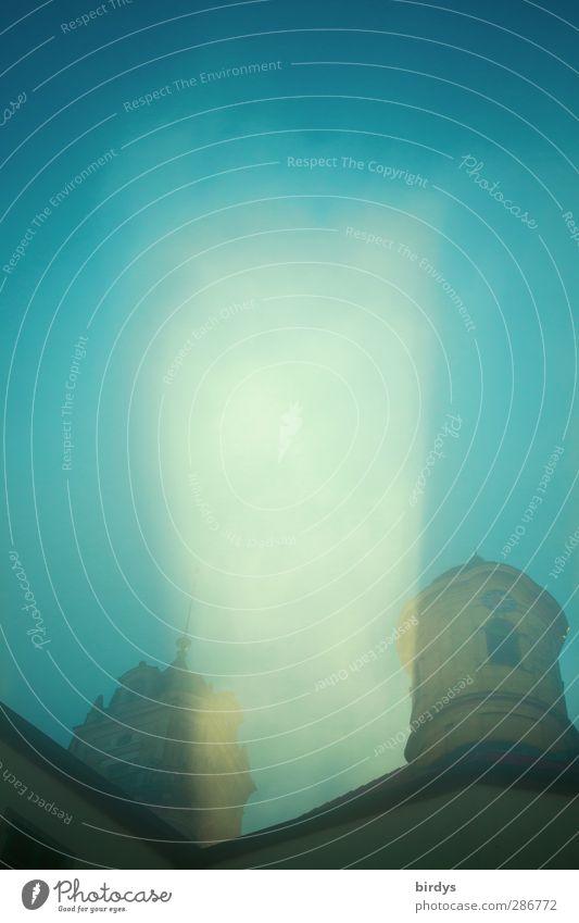 gute Reise Himmel Nebel Burg oder Schloss Schloss Baldern leuchten außergewöhnlich blau gelb Energie Religion & Glaube Surrealismus Weltall mystisch Turm UFO